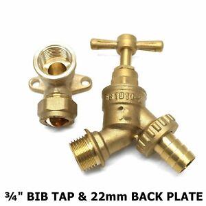 "¾"" Outside Garden Brass Tap & Wall Plate Elbow Adaptor Pipe Bib Hose *CHEAPEST*"