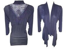 NEW Small NAVY BLUE FLORAL LACE CROCHET BACK DESIGNER CARDIGAN JACKET WOMENS
