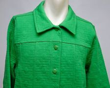 Isaac Mizrahi Live Womens Quilted Knit Button Down Jacket Green Size XL