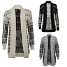 Womens Ladies Owl Print Knitted Long Sleeve Jumper Open Cardigan Plus Size 8 16