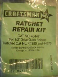 Craftsman Ratchet Repair Kit # 43447 for 1/2 Ratchets 44985 & 44975 made in USA