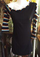 Sexy Mod Geometric Cut Out Black Multi Stripe Asymmetrical Mini Dress