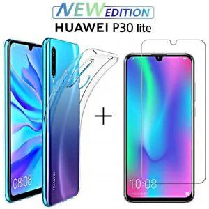 COVER per Huawei P30 Lite New Edition CUSTODIA TPU + PELLICOLA VETRO TEMPERATO