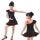 Childrens Latin Dance Dress Girls Salsa Ballroom Dancewear Costumes Red