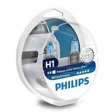 2x H1 PHILIPS WhiteVision 12V 55W Intense white Headlight Bulbs 12258WHVSM Twin