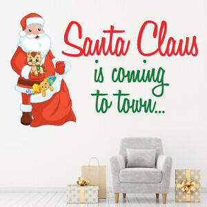 Santa Claus Is Coming To Town Christmas Quote Wall Sticker WS-50053
