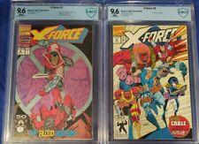 X-Force #2 & #8 CBCS 9.6 wp 2nd app Deadpool 1st app wild pack not cgc