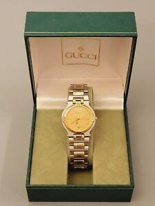 GUCCI 9000M Unisex Watch Swiss Quartz Gold Plated New Battery Runs Great 34mm