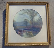 fine antique Tondo pastoral cow landscape painting