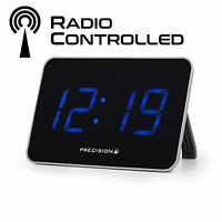 Precision Digital Radio Controlled Alarm Clock With Big Blue LED 2year Guarantee