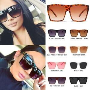 1X Oversized Square Flat Top Sunglasses Large Black Square Women Ladies  Gift