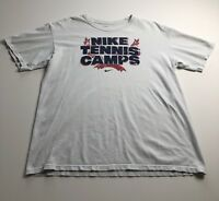 Nike Tennis Camps White Tee T Shirt Adult Medium M Loose Fit Short Sleeves