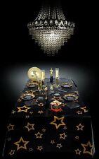 VIP Stars Black & Gold Tablecloth 130 x 180cm Fancy Dress Party