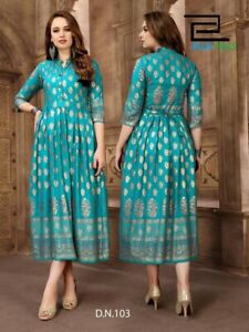 Asian Indian Pakistani Women Designer Kurti Kurta Tunic Dress Long Dress