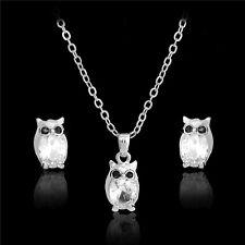 Wedding Jewelry Set 18K Gold/Silver Crystal Owl Pendant Necklace+Stud Earrings