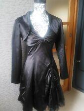 Elégante robe de soirée et boléro satin noir 36 décolleté froncé bas drapé tulle