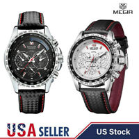 Men's Military Big Face Quartz Stainless Steel Analog 30M Waterproof Wrist Watch