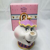 Vintage Schmid Disney Beauty And The Beast MRS POTTS CERAMIC TEAPOT Coin Bank
