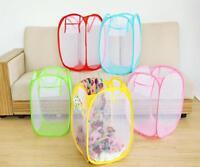 Foldable Laundry Basket Bin Pop Up Washing Clothes Bag Hamper Mesh Storage Bags