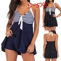 Plus Size Women Swimdress Two Piece Swimsuit Swimwear Beachwear Push Up Padded