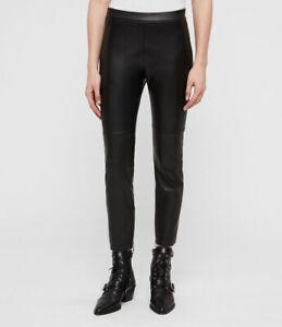 All Saints Womens Koby Designer Mid Rise Skinny Leather Look Fabric Leggings
