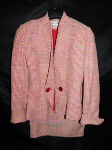 Vintage Christian Dior Size 4 Pink Blue Tweed Skirt Suit Blazer Jacket USA Made