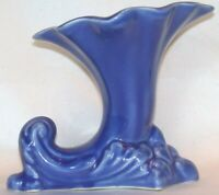 Beautiful 40's 50's Vintage Old Blue American Art Pottery Cornucopia Vase