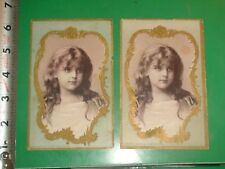 ZU741 Vintage LOT of 2 Victorian Trade Cards Woolson Spice Co Toledo Ohio