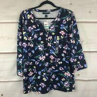 Karen Scott Plus Size Floral 3/4 Sleeve Split Neck Top Cotton Knit Womens 0X New