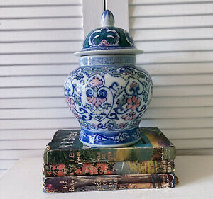 Vintage Ginger Jar Small Porcelain Decorative Oriental Style Blue Green