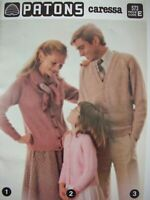 Patons Knitting Pattern Book - FAMILY KNITS - 12 Designs in 7 Ply Caressa - VGC