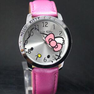 Girls Hello Kitty Cartoon Fashion Wrist Watch Children Kids Watch Christmas Gift