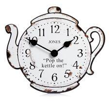Jones Teapot Pop The Kettle On White Black Distressed Wall Clock Kitchen