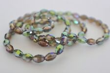 80 pce Rainbow Spectrum Faceted Golden Green Oval Crystal Glass Beads 6mm x 4mm