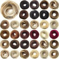 Synthetic Hair Flexible Scrunchie Wrap For Straight Hair Bun Ponytail 24 Colours