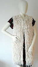 New Genuine Isabel Marant Silk Alfie Fringed Long Gilet Jacket Size Large 10 12