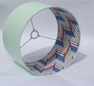Lampshade 80's Memphis Design fabric lining with choice of colour cotton outer