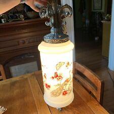 Vintage Mid Century Hanging Swag Cylinder Light White Globe Fixture Peacocks