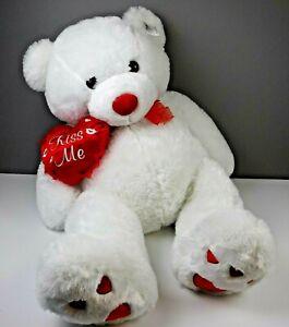 "Jumbo 46"" Plush Teddy Bear Kiss Me Pillow Valentines Day White Heart Paws Soft"