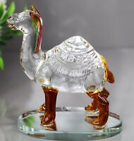 FIGURINE CAMEL CLEAR AND GOLD GLASS HOME DECOR ORNAMENT GIFT & GIFT BOX