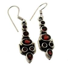 Red Garnet Earrings Sterling Silver Jewelry Semi-Prescious Gemstone Faceted