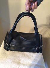 Cole Haan Black Pebble Leather Barrel Satchel Purse Bag
