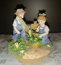 Home Interiors Denim Days #12077 Homco Catching Butterflies Jar Candle Topper