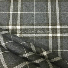 Dark Grey Tartan Stripe Checked Pattern Texture Weave Chenille Upholstery Fabric