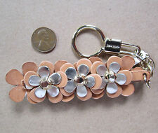 Kate Spade New York Keyring fob Tan Gold Leather Flowers NWD