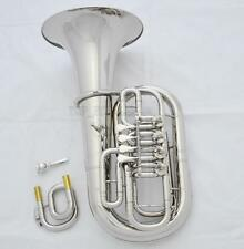 Professional Silver nickel Euphonium C/Bb Key Smoothly 4 Rotary Valve New Case