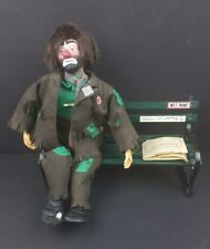 "Emmett Kelly Jr Wet Paint Posable Musical Clown with Bench - 10"" Sitting"