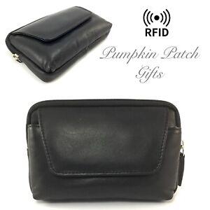Soft Leather Man Bag Travel Bum Sat Nav Pouch Passport Wallet Belt Purse RFID
