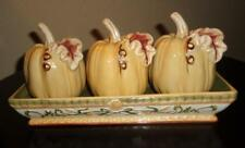 """Pumpkin Figurines & Holding Tray """"Handcrafted for Transpac"""""""