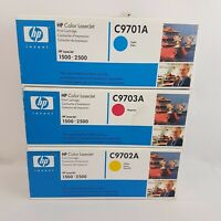 3 HP Colour LaserJet Print Cartridge C9701A C9702SA C9703A Magenta Yellow Cyan